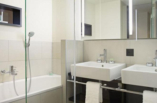 Die Badezimmer im Seepark sind modern